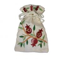 Embroidered Havdalah Spice Bag and Cloves - Pomegranates BBE-3