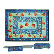 Wooden Challah Board, Knife and Stand - Pomegranates CB-NS-PR-9