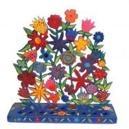 Painted Metal Lazer Cut Menorah - Flowers HML-3