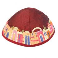 Embroidered Kippah - Jerusalem Magenta YME-1M