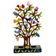 Painted Metal Lazer Cut shabbat Candlesticks - Pomegranate Tree CLC-1B