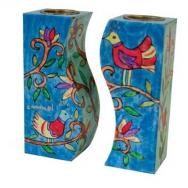 Fitted Shabbat Candlesticks - Birds CS-11