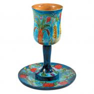 Large Wooden Kiddush Cup and Saucer - The Seven Species CUL-3