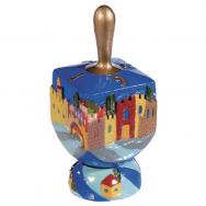 Ceramic Hanukkah Dreidel and Stand - Jerusalem Vista DRP-4