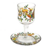 Glass Kiddush Cup and Saucer - Oriental GC-8