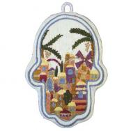Large Embroidered Hamsa - Jerusalem HEL-1