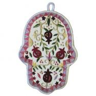 Large Embroidered Hamsa - Pomegranates HEL-3