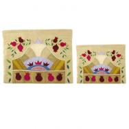 Raw Silk Tallit and Tefillin Bag – Pomegranates in Gold TBA-TF-11