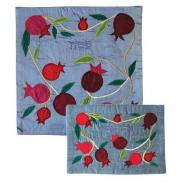Raw Silk Matzah Cover Set - Pomegranates Blue MAS-AFR-36
