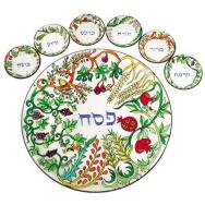 Hand Painted Glass Passover Seder Plate - Seven Species SPGL-2