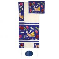Embroidered Raw Silk Tallit - Birds blue TFA-8