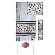 Embroidered Raw Silk Tallit - The Matriarchs embroidered white TFA-9