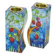 Fitted Shabbat Candlesticks - Pomegranates CS-5