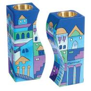 Fitted Shabbat Candlesticks - Jerusalem Blue CS-8