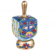 Ceramic Hanukkah Dreidel and Stand - Flowers DRP-5