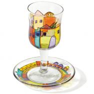 Glass Kiddush Cup and Saucer - Jerusalem Vista GC-4
