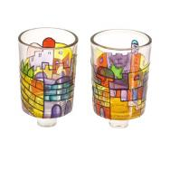 Painted Glass Candle Holder - Pair - Jerusalem GCS-1