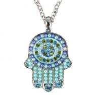 Small Hamsa Necklace - Blue NHS-2