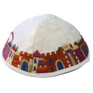 Embroidered Kippah - Jerusalem white YME-1W