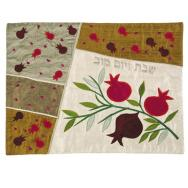 Raw Silk Appliqued Challa Cover - Pomegranates white CAS-1