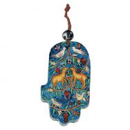 Small Wood Painted Hamsa - gazelle and birds HAS-1