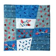 Patches Embroidered Pillow Cover - Pomegranates (Blue) PMA-3
