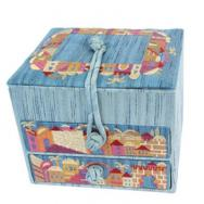 Embroidered Jewelry Box - Jerusalem Blue BE-3B