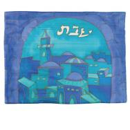 Silk Painted Challa Cover - Gate blue CSE-9