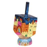 Small Wooden Dreidel with Stand - Jerusalem Colors DRS-15B