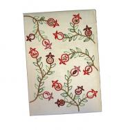 Embroidered Hard Cover Notebook - Pomegrantes White SD