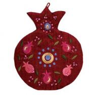 Embroidered Wall Decoration - Pomegranates - Red WSC-1