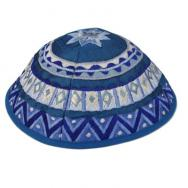 Embroidered Kippah - Geometrical Blue YME-2B