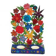 Painted Metal Lazer Cut shabbat Candlesticks - Flowers CLC-2
