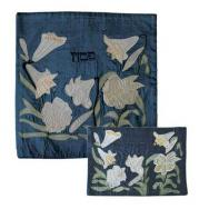 Raw Silk Matzah Cover Set - Lily Blue MAS-AFR-40