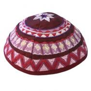 Embroidered Kippah - Geometrical Magenta YME-2M